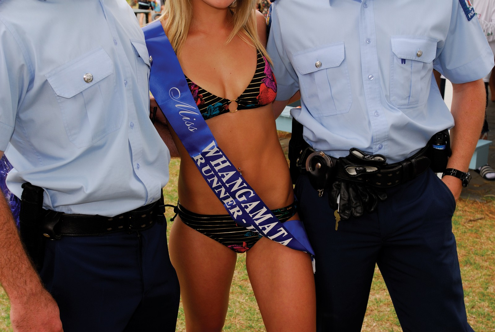 Runner-up Pipi Sopp (posing with police officers) has placed second in each of the last five years.
