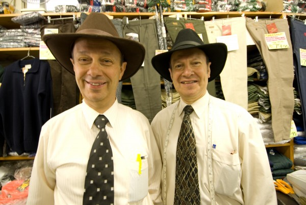 "John (upper, left) and Karam Haddad, long time retailers in Otorohanga, have created their own line of ""all-year-round-hats"""