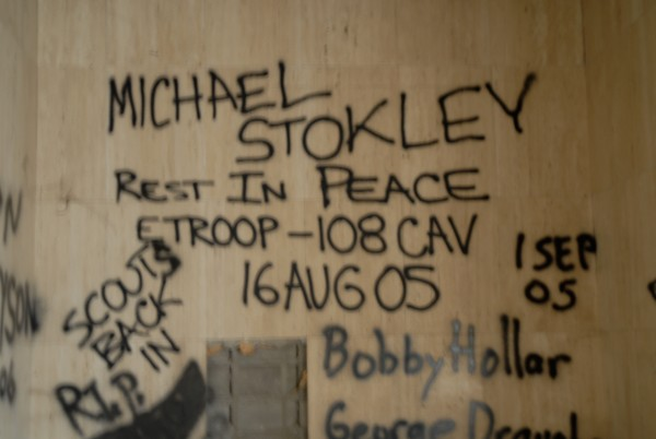 The graffiti commemorates the death of a 23-year-old American serviceman.