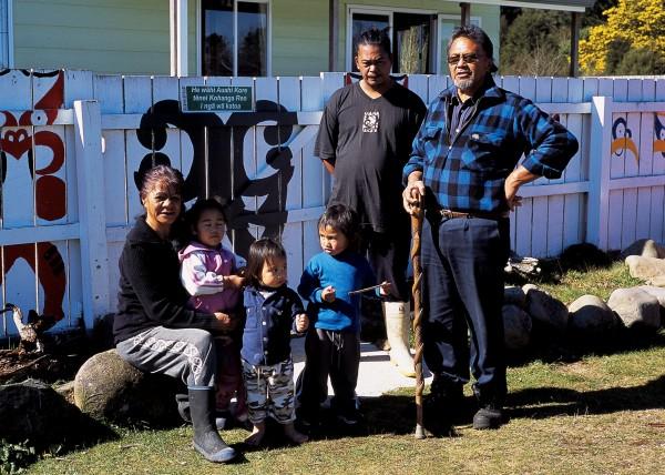 Youth development trainer, Memory Edmonds, oversees Te Akauroa Miki at Rangitahi 88.3 ERFM. Andy Kohiti (with Ringatu stick), wife Hui Hui, and their son Anaru run the Te Whaiti Kohanga Reo. The town of 1900 has four kohanga reo and one kindergarten.
