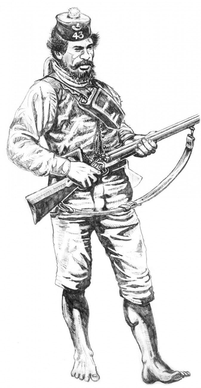 Hemi Te Waka a.k.a. Taranaki Jim, depicted in 1869 fighting garb with sawn-off shotgun, revolver, 43rd Regiment forage cap, tomahawk and bare feet.