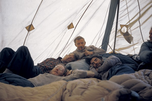Hillary, George Lowe, Charles Evans and George Band listened to the coronation in their tent.