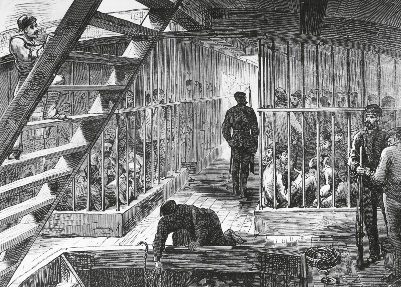 Convicts were housed below on the prison deck and often further confined behind bars. In many cases they were restrained in chains and only allowed on deck for fresh air and exercise. Cruel masters, harsh discipline and scurvy, dysentery and typhoid whittled down their numbers on the high seas. These attrition rates prompted authorities to review the system in 1801, after which ships were dispatched twice a year, at the end of May and the beginning of September, to avoid the dangerous winters of the Southern hemisphere.