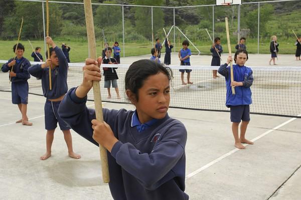 At Te Kura Kaupapa Maori O Te Tonga O Hokianga Maori immersion school in Whirinaki, taiaha training is part of a daily regimen designed to teach martial discipline, as well as coordination and concentration.