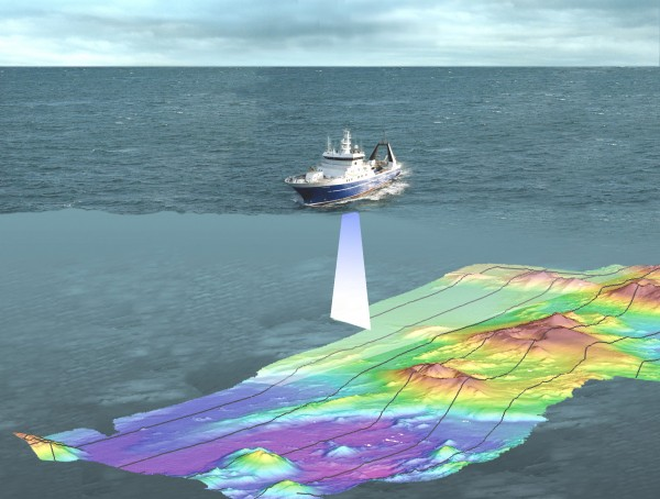 A depiction of NIWA's research vessel Tangaroa engaged in multibeam mapping. An array of 135 separate sonar beams are directed at the seafloor as the vessel motors above, and reflected signals are used to construct a detailed surface topography of the seabed. The mapped swathe is 2-5 km wide depending on water depth. Deeper water allows more beam spreading, producing a wider, but slightly less detailed image.