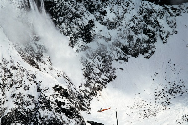 In winter, avalanches can close the Milford Road and the Homer Tunnel (at bottom of picture) leading to Milford Sound. Dedicated snow control crews use helicopters to bomb the high snowfields and artificially trigger some of the largest and most dramatic avalanches in New Zealand.