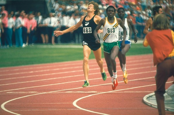 Filbert Bayi #813 of Tanzania beats John Walker of New Zealand and Ben Jipcho of Kenya to win the 1500 metres in a new World Record at the 1974 Commonwealth Games in Christchurch, New Zealand.