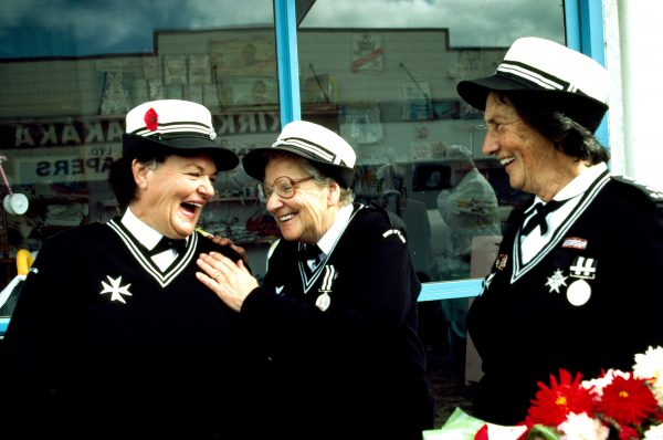 We'll never know, but they're enjoying it! Leonie Richardsen (left) and Margaret Wilson, St John's Ambulance, ANZAC Day.
