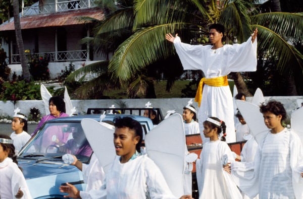 Jesus arrives in Jerusalem by truck during a nuku practice in Rarotonga.