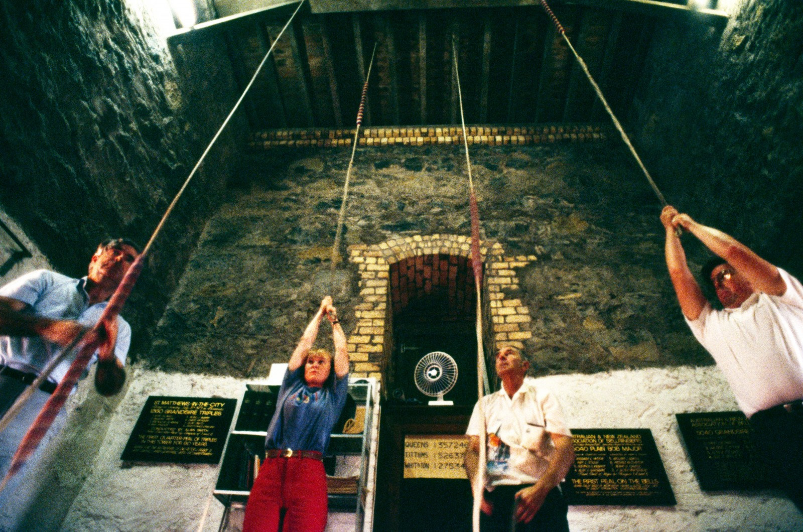 Plaques recording memorable peals hang on the walls of the St Matthew's ringing chamber, inspiring the ringers to greater efforts.