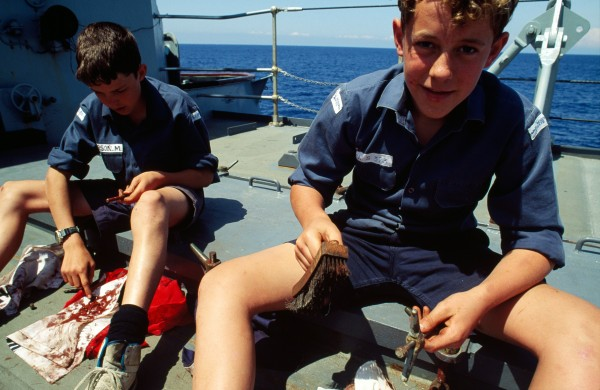 For these Australian sea cadets, menial jobs such as greasing bolts are a small price to pay for the chance to go to sea.