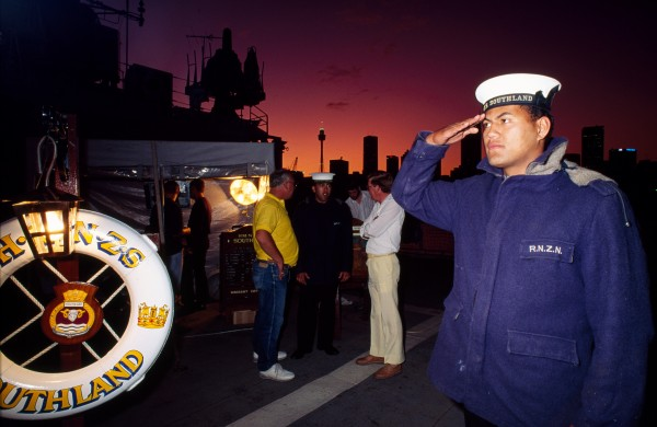 For days the prospect of Sydney's pleasures has helped the crew battle a critical level of stress. Now, the gunners have been on their run for two hours and are warming up for a major encounter with the city's nightlife. Below: despite the stresses and discomfort of shipboard life, at the heart of the navy is a deep sense of pride. A gleaming ship, an exotic skyline, a crisp salute-who could ask for anything more?