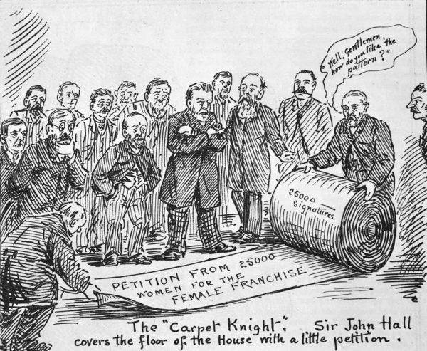 Petitioning was the main strategy of the suffragists. They knocked on doors and visited factories all over New Zealand gathering signatures in favour of the suffrage. There were three major petitions, in 1891, 1892 and 1893. The final petition, which ran to 300 yards of names, was signed by just under one-quarter of the adult women in the colony. When Sir John Hall brought it into the House, a deathly silence fell as he unrolled it down the length of the debating chamber.
