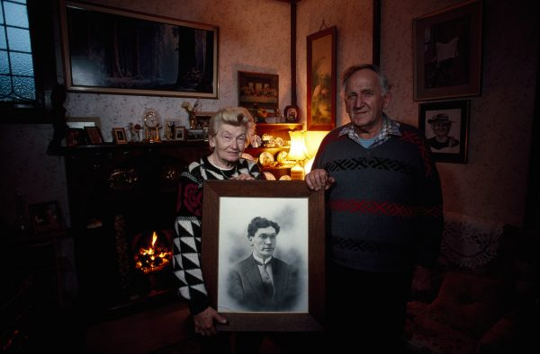 Black gold runs in the veins of P. and Don Jennens of Stockton. Pam's father Stephen Barnes (framed portrait) immigrated to work the mines at Stockton with his father and other relatives in 1920, having started work in Welsh mines at the age of 12. He died at 54 from lung disease. Don worked 14 years at Stockton mine, was president of the Stockton Miners' Union for ten.
