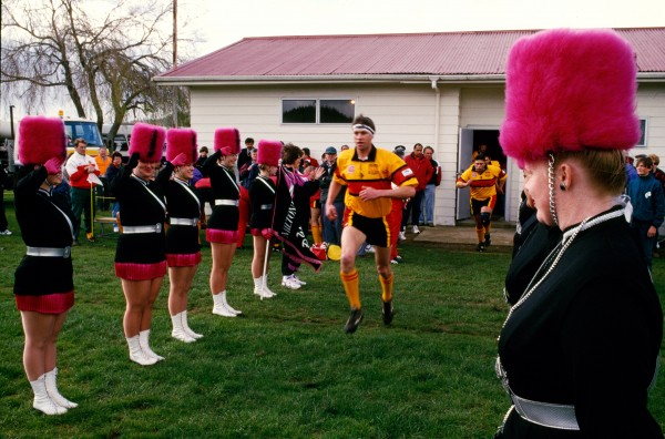 Provincial loyalties rule on the rugby ground. Thames Valley get something close to the red carpet treatment by marching girls at Whangamata for their match against the Counties Steelers in the first big match to be played at the small Coromandel Peninsula town.