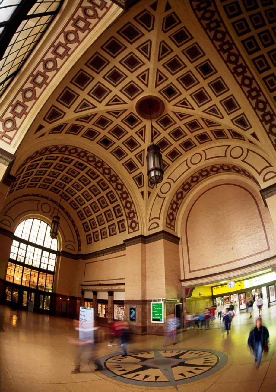 "A soaring vaulted ceiling greets travellers at Wellington station. Called ""a temple of transport"" when finished in 1937, it is the country's biggest and busiest. Relics of journeys past, tickets were t times filled in by guards on the train, but more commonly date-stamped at the issuing station by a special machine."
