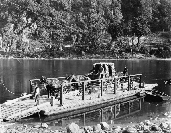 In the era before bridges, horse-drawn buggies, and later cars, were ferried across the river at Te Kuha, not far from Westport.