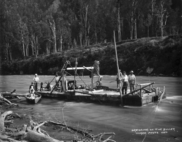 New Zealand's only find of the radioactive element was made in the lower Buller in 1955, but it was not an economic deposit. Gold, on the other hand, has been won from the river for over 100 years, by such methods as this spoon dredge, operating in 1895.