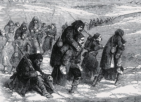 During the Crimean War, scurvy ravaged the allied armies-British, French and Turkish. The Turks, shown here carrying their sick to Balaclava, were poorly equipped, and scurvy was responsible for five out of six cases in their overcrowded hospitals. The British shipped fruit and vegetables to a nearby port but never managed to get them to the troops. The French Commander-in-Chief ordered his sick troops to pick dandelion plants and make salads from them.