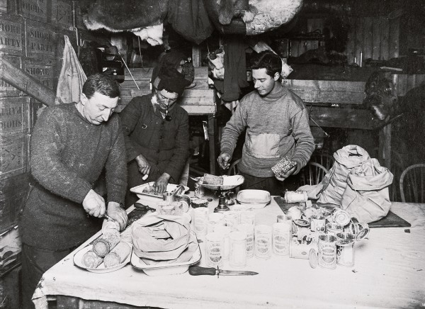 Despite problems with scurvy encountered during his 1902 expedition to the South Pole, Scott's four-man polar party of 1911-12 also lived on a vitamin C-deficient diet dominated by biscuits and tinned pemmican (a mixture of dried meat and fat here being cut up by Atkinson, Bowers and Cherry-Garrard), and there remains a suspicion that scurvy contributed to their demise. To blame was the then-popular medical theory that scurvy was caused by contaminated meat.