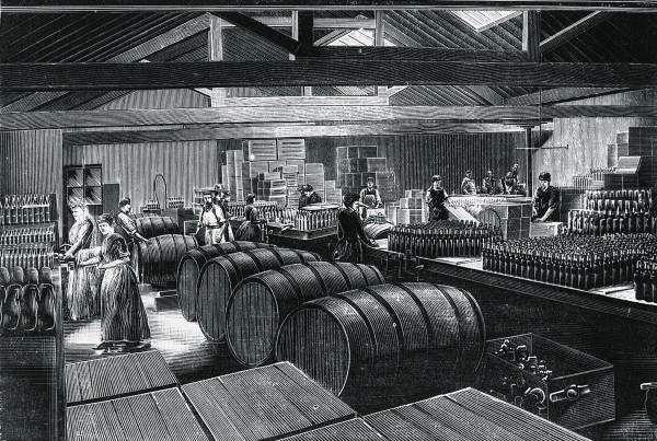 The Royal Navy introduced lemon juice to fight scurvy in 1795, but during the 1860s West Indian lime juice was substituted-here being bottled in a Victorian factory. Limes contain less vitamin C than lemons do, and losses during shipping, storage and preparation resulted in a product with little antiscorbutic activity, so scurvy surfaced yet again amongst the Jack tars.