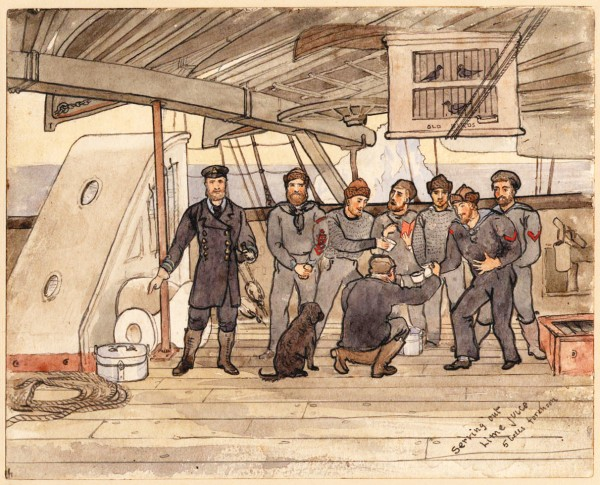 During Captain Nares' 1875 expedition to the Arctic, a daily ration of lime juice was dispensed to crew aboard the Alert. Despite this precaution, 60 cases of scurvy broke out among the sledging parties once they set out across the ice, four people died from the disease and the expedition had to retreat when 400 miles short of the North Pole.
