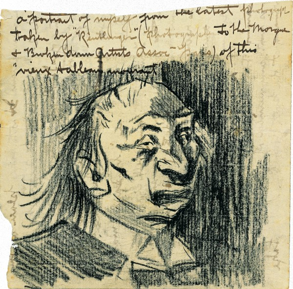 One of very few self-portraits of Goldie to survive, this caricature was sketched in a letter to his friend Grace Hesketh while Goldie was living in Paris. The bohemian Goldie was probably nursing a hangover at the time.
