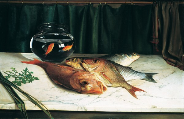 Goldie's ability to paint images of such startling vitality that they almost materialise from the canvas was evident in Still Life (1890), painted when he was just 19. The work, entered in an Auckland still-life competition, was disqualified on account of the lively goldfish.