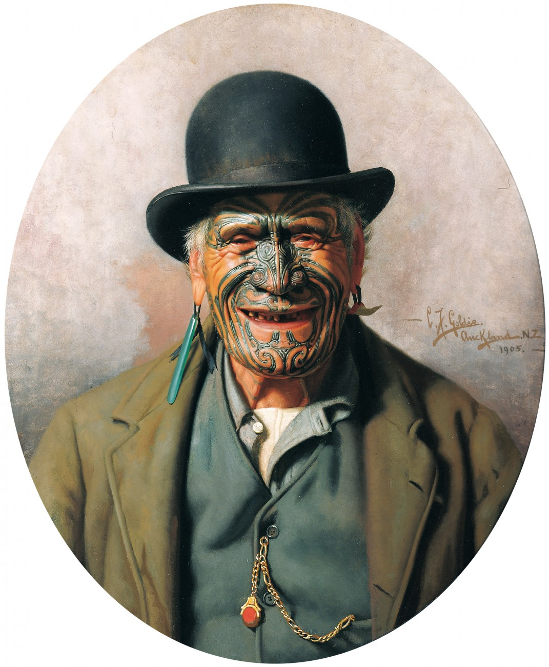'All 'e Same t'e Pakeha' or A Good Joke (1905) is probably Goldie's best- known portrait. Te Aho-o-te-Rangi Wharepu, a warrior chief of Ngati Mahuta, was known for his sartorial elegance. But his cheesy grin and eclectic attire, and the imperfect English of the painting's title, offend the modern sense of political correctness. It is as if Te Aho has been set up as an object of ridicule: a rogue in a bowler hat. But who has the last laugh? Perhaps it is Te Aho, who is immortalised in this most iconic of images.