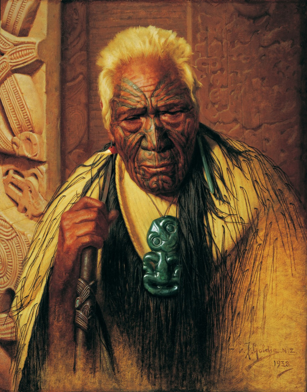 For his later paintings, including this 1938 version of Thoughts of a Tohunga, Goldie worked from photographs, the old generation of rangatira having died. As always, he includes the trappings of rank and infuses his subject with a melancholy air. By portraying Maori thus, was Goldie simply tapping a sentimental vein in his audience? If so, is his work really art? The debate will continue, but for most New Zealanders the face of Maori past is the face that returns their gaze from a Goldie portrait. Distorted, perhaps, but unforgettable.