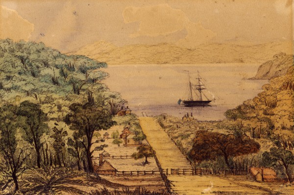 Up to 300 Europeans-miners, smelters, woodcutters and their families-and perhaps 200 Maori lived on the island in its heyday, 1845 to 1850. The watercolour above, showing the settlement at Mansion House (Momona) Bay was painted by Lieut. T. Morton Jones of HMS Pandora in 1851. Inept management and labour difficulties led to the closure of the mining operation in 1855.