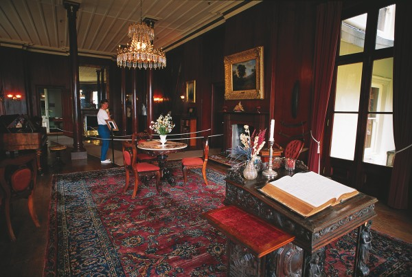 The interior of Mansion House has been restored to look the way it would have it Grey's day, though many of the furnishings are not from his estate. Grey held morning prayers for the entire household in the large downstairs drawing room, and on Sunday evenings the Rev. McKinney from Warkworth frequently conducted services here, having ridden down to Mullet Point (the nearest arm of land) and been rowed the three kilometres to Kawau by one of Grey's staff.