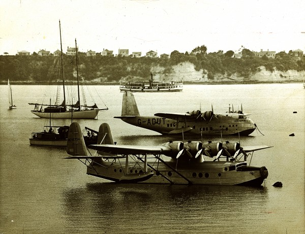 New Zealand was ushered into the world of international air travel by Captain Edwin Musick (above), whose survey flights in a Sikorsky flying boat (here anchored in the Waitemata, with John Burgess's Empire-class aircraft Centaurus behind) mapped out a route from Auckland to San Francisco.