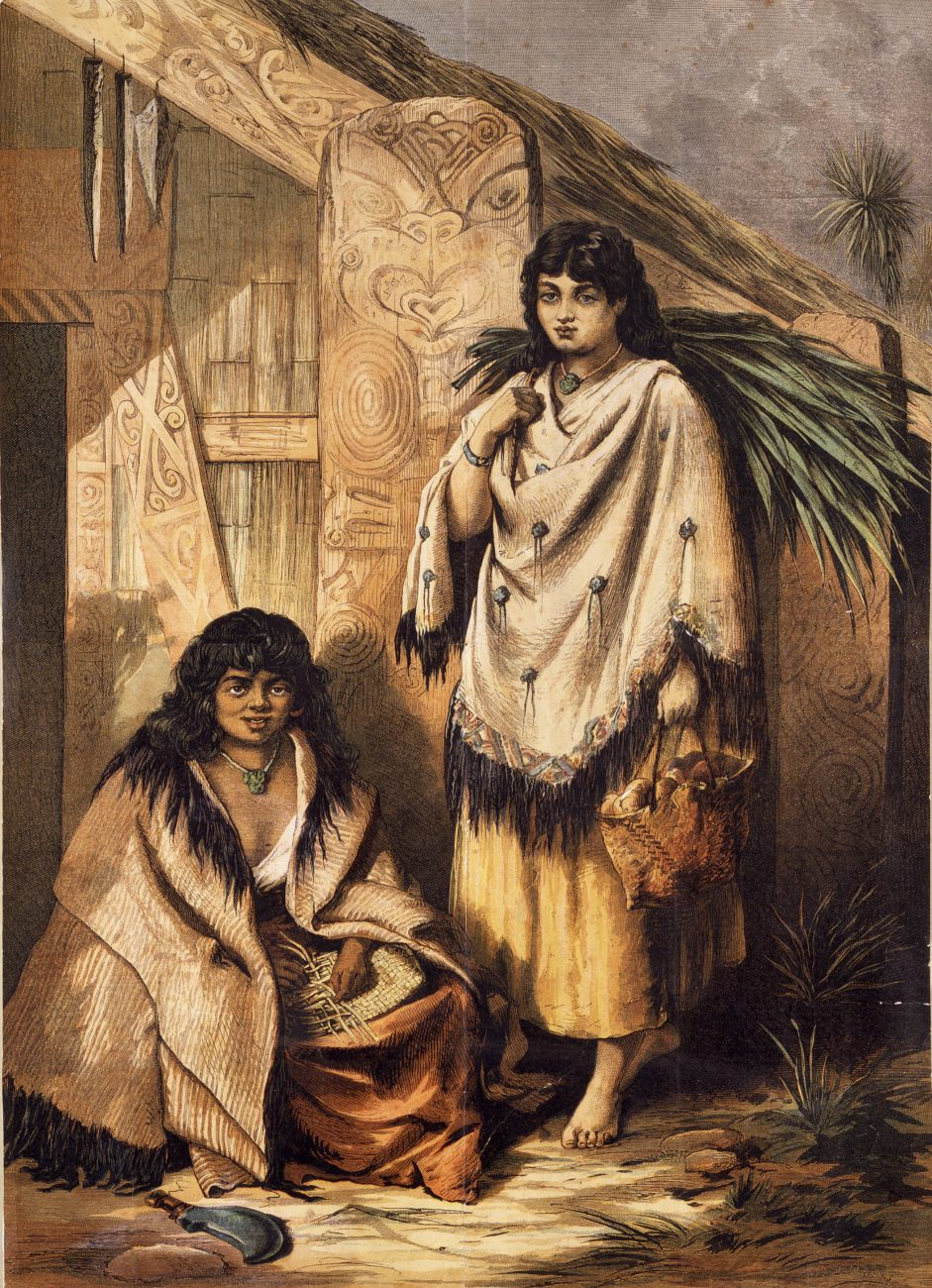 Flax fibre provided not only strength but, when carefully prepared from the appropriate varieties, a lustrous beauty seen in the fine cloaks (kakahu) worn by these young women.