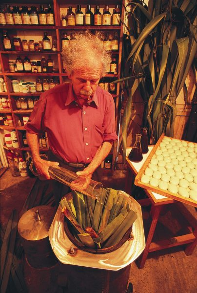 Chemist Grant Cavaney of Opunake manufactures soap, handcream and shampoo (above) from flax extracts Among other contemporary flax products are handmade flax paper and sweets, the latter made from a mixture of flax gum and manuka honey. The flax mats and rope, although in mint condition were both made many years ago.
