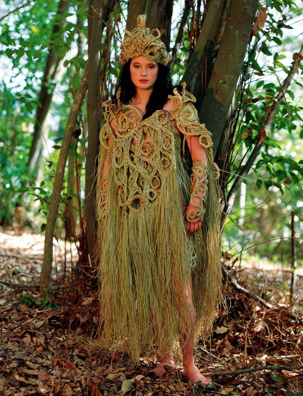 """""""Moko,"""" designed for the 1995 Nelson Wearable Art Awards by Debbie Price and modelled by Debbie Perham, won several prizes, and showed that the daysof harakeke as haute couture are far from over. When flax's many virtues are combined with human flair, who can foresee the results?"""