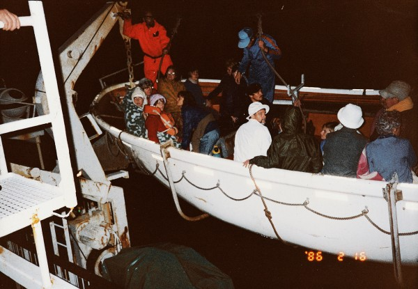 The inter-island ferry Arahura used its lifeboats as lifts to transfer passengers from the Lermontov's liferafts.