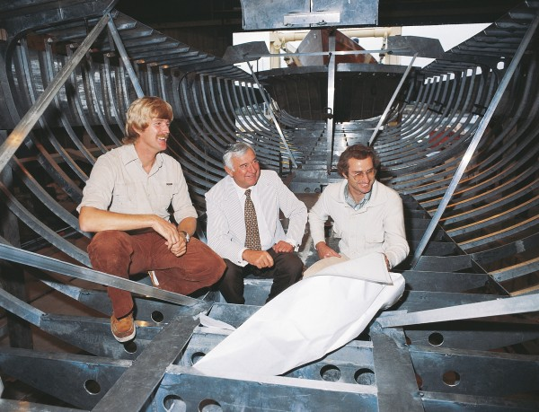 Presiding over Ceramco at its height was Tom Clark (middle), who put the company's name and financial backing behind New Zealand's bid for the 1981/82 Whitbread Round the World Race in the shape of the 69-foot sloop Ceramco New Zealnd, designed by Bruce Farr (at right) and skippered by Peter Black (at left).