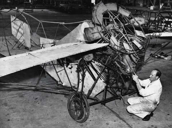 """Thirty years after his first aviation experiments, Pearse was seized with the idea of a """"private plane for the million[s]."""" Designed for vertical take-off and landing, his Utility Plane would open the skies to everyone. By the time his patent was lodged in 1943, however, many of the machine's technical innovations had become outdated."""