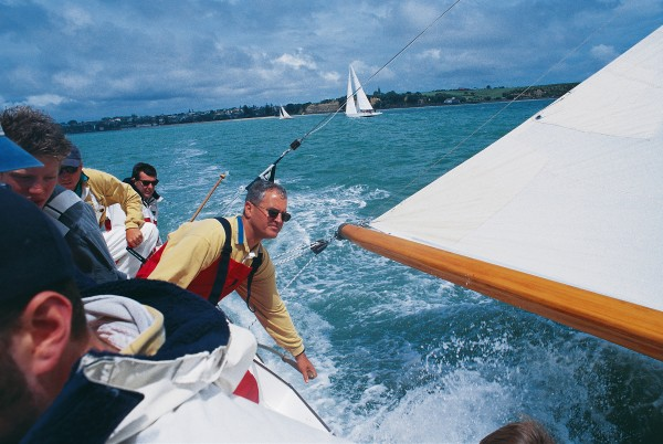 "Hamish Ross, Little Jim's owner-helmsman and a founding member of the Classic Yacht Association of New Zealand, coaxes a last turn of speed from the boat he says has become part of his family. ""She has a distinct personality, with moods to match. She loves a stiff breeze and a high sea, but also has her grumpy days."""