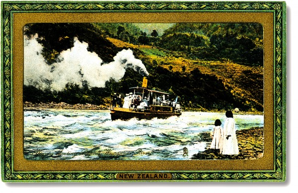 The tourist trade on the Whanganui flourished at a time when the Edwardian passion for sending greeting cards was at its height. Exquisitely hand-coloured images celebrated the romance of river travel in a distant and exotic land.