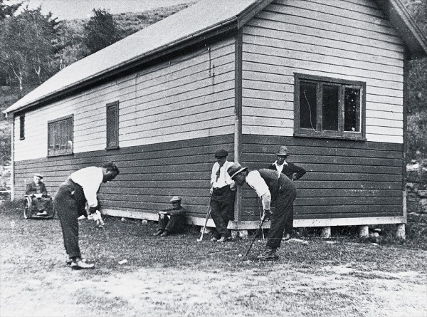 Some of the 80 Alaskan huskies that accompanied Commander Richard Byrd's 1928-30 US Antarctic expedition produced litters while in quarantine (above). Sir Joseph Ward, then prime minister, gave special permission for the dogs to be transferred from Quail Island and another quarantine island, in Otago Harbour, to Mount Cook, so the ice could harden their feet. Between 1906 and 1925, the island was home to Zealand's only colony of lepers, a group of whom are seen here playing golf.