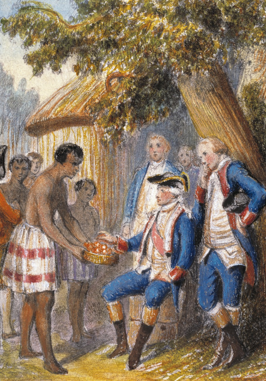 The reception accorded Europeans varied around the Pacific. Antoine de Bougainville, reaching Tahiti in the late 1760s, was received warmly by the locals, and is shown here inspecting fruits that were bartered daily in exchange for nails, tools, buttons and the like. He left French garden plants on the islands, including onions, barley, oats and corn.