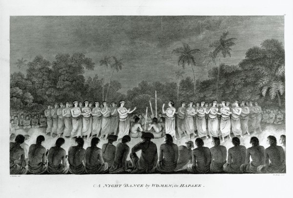 The beauty, grace and availability of Polynesian women were a constant source of wonder to sailors long deprived of female companionship. John Webber, the offical artist on Cook's third voyage, sketched a dance at Lifuka, Tonga, at which Cook and some his officers were guests.