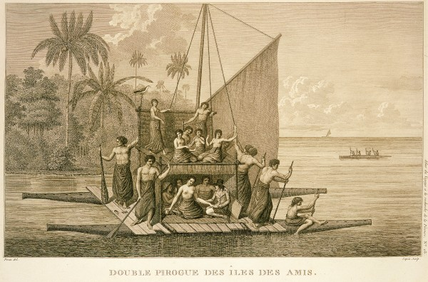 Polynesian beauties and their muscular consorts feature in a drawing of a Tonga double canoe by Piron, an artist with Jacques-Julien de Labillardiere, who searched unsuccessfully for La Pérouse in 1792-2.
