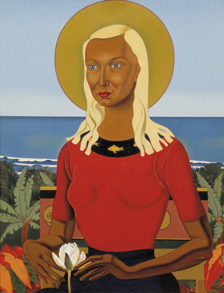 """A society can be said to have come of age when it begins to live by the light of an imaginative order of its own,"" wrote New Zealand poet and editor Charles Brasch. Among the artists who have helped create a new imaginative order for New Zealand is Rita Angus, whose symbolic self-portrait Rutu (1951) draws on pre-Rennaissance European and contemporary Polynesian elements. Hallowed by the sun, this image of a blond-haired, brown-skinned Madonna seems to imply that the Pacific dream is very much a part of post-colonial New Zealand reality."