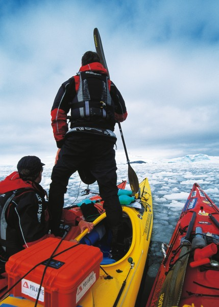A vast plain of impenetrable brash ice, formed by collapsing ice cliffs, blocks progress. Only by standing in the boat-a manoeuvre perfected in kinder conditions back in New Zealand-was there any chance of finding a clear lead.
