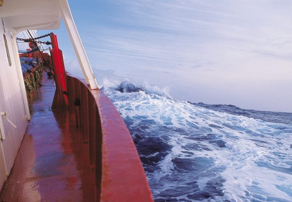 The freighter Jenka ploughs through the Southern Ocean loaded with food, fuel, rat bait, equipment and personnel, bound for Campbell Island. The ship took three days to cover the 900-odd km from Timaru to Perseverance Harbour.