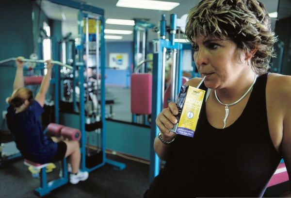 After her work-out, Lynn Jamieson, of Hamilton, sips Sculpt, a drink made with whey-protein concentrate. The high-protein, low-fat beverage is targeted at women who seek to gain lean muscle and lose fat.