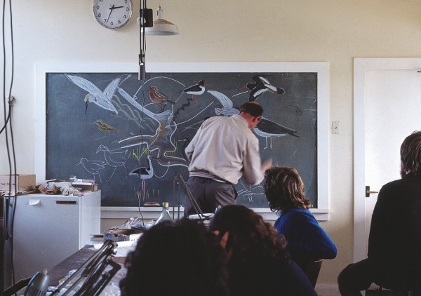His blackboard sketches, the work of a true artist, were unerringly thrown off in mere minutes whether in the large and gloomy Zoology Lecture Theatre at Auckland University (where he normally performed in a black academic gown), or here in a makeshift lab on the Whangarei Heads field course. Five old houses in Havelock Street (now covered by Auckland University) housed zoology's research students in 1960s (below).